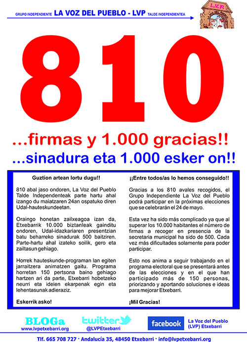 810 firmas y 1000 gracias